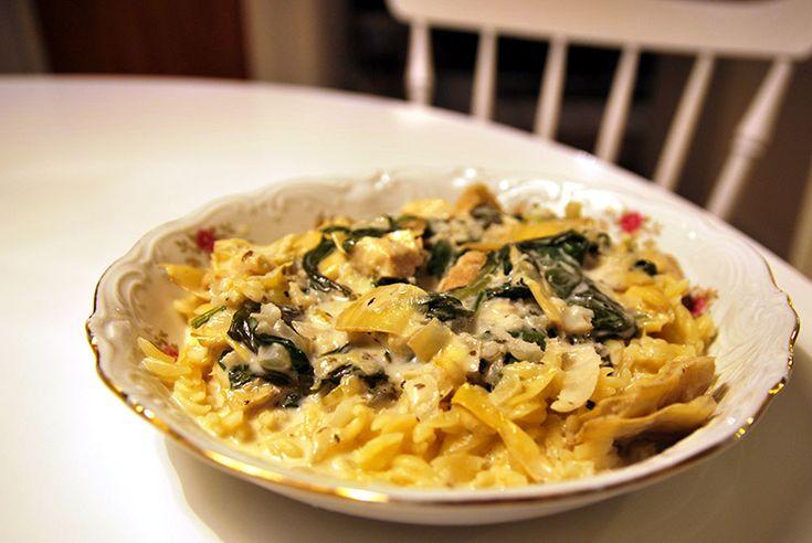 Pasta med kronärtskocka och spenat. (SWE) Pasta with artichokes and spinach