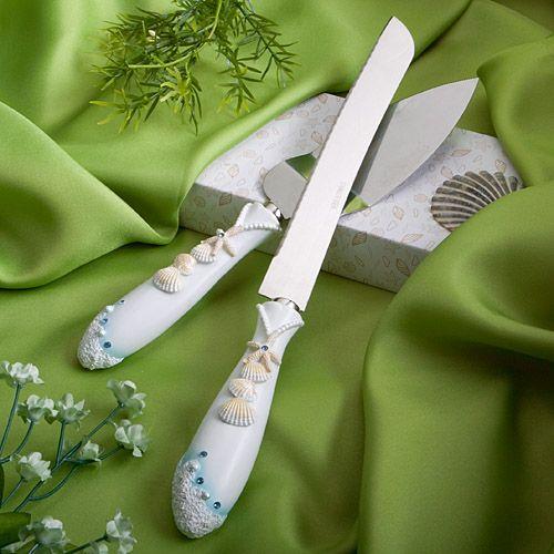 BEACH THEMED WEDDING CAKE KNIFE & SERVER SET