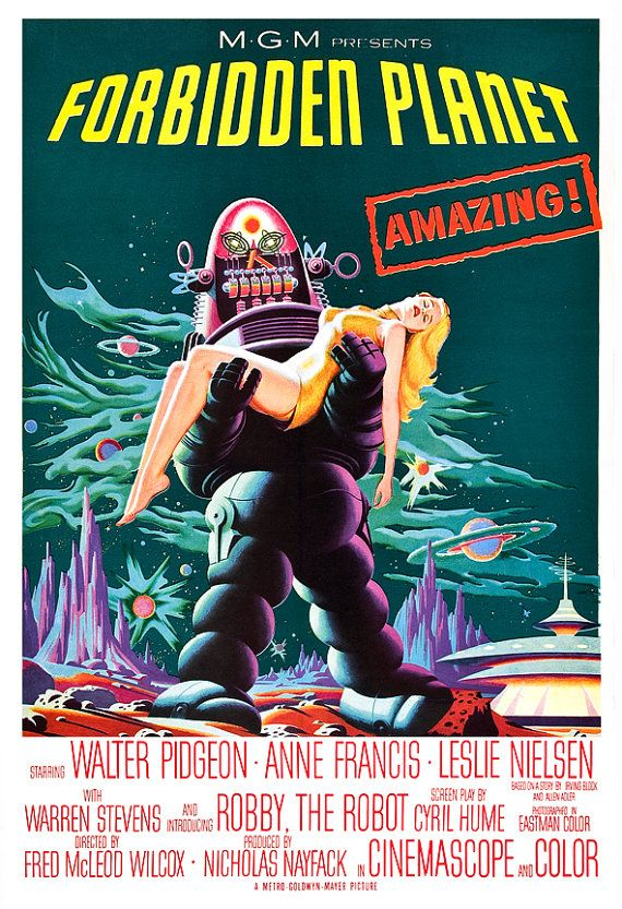 """Planeta prohibido - decoración clásica Sci Fi Movie Poster Print - 13 """"x 19"""" o 24 """"x 36"""" - Inicio teatro sala de prensa - 50s kitsch - Robby el Robot"""