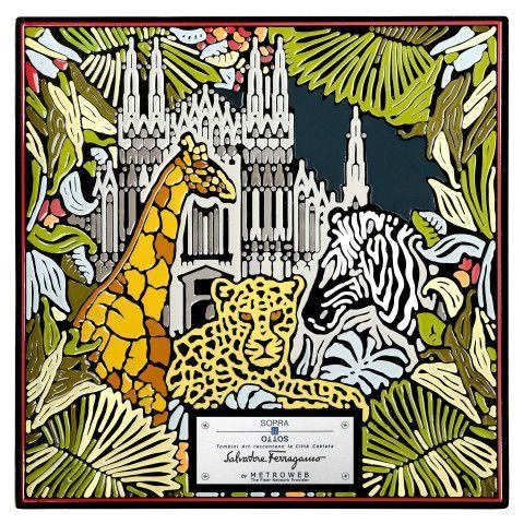 Ferragamo  C'è la giungla metropolitana - zebra e giraffa davanti al Duomo - di Salvatore Ferragamo.