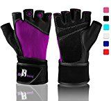 Wrist Wrap Gloves For Gym Workout  Premium Weight Lifting Gloves For Gym Equipment Cross Training  Best Gym Gloves  Gym Weights Equipment Power Lifting (Purple L)