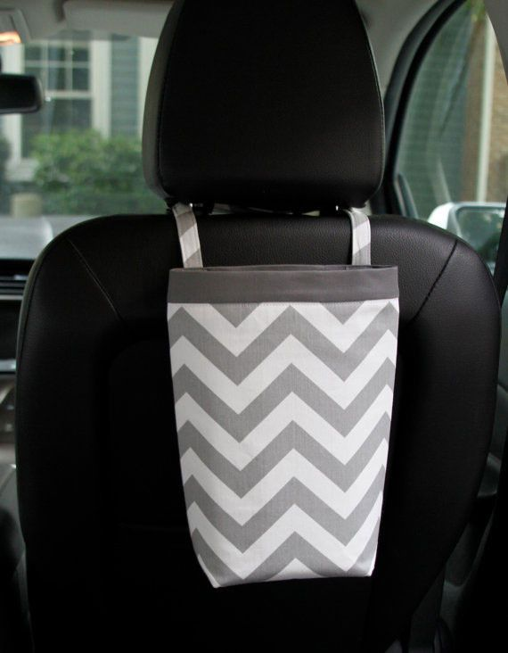 Headrest Car Trash Bag ~ Gray Chevron with Gray Band and Oilcloth Lining