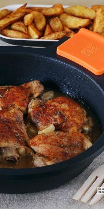 Pollo al horno en salsa de ajo y pimentón. Receta