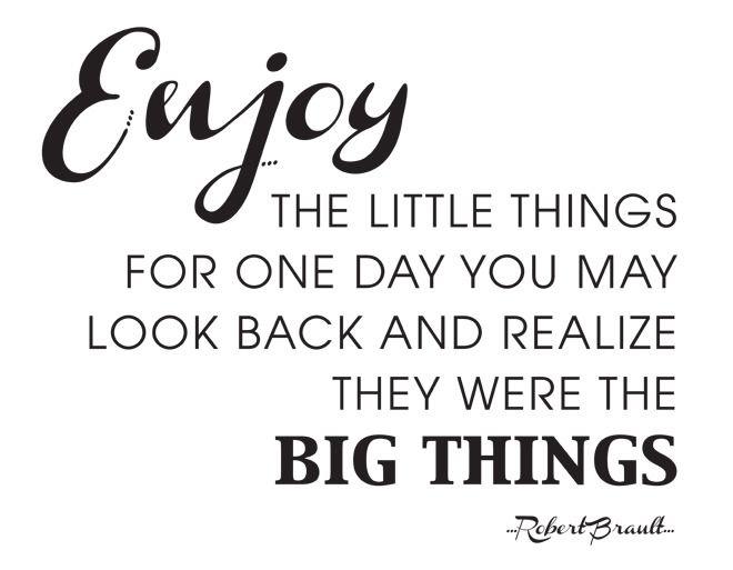 Genieten van de kleine dingen....het zijn de kleine dingen die het doen....