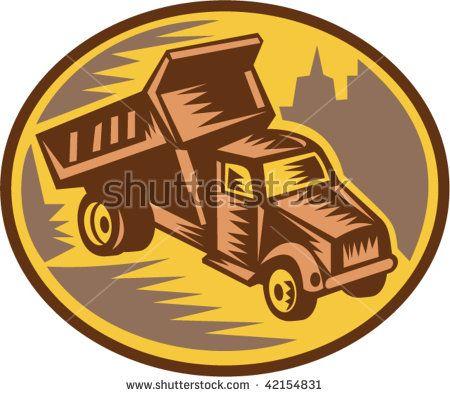 Imagery shows a dump truck done in retro woodcut style.  #dumptruck #woodcut #illustration