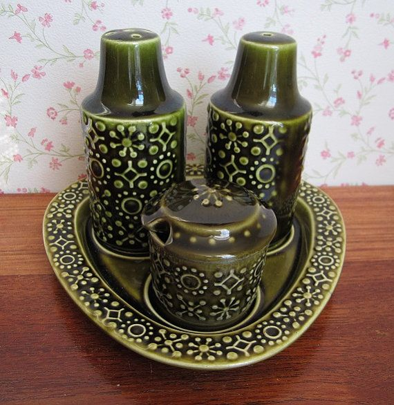 Vintage Celtic Ceramics Cruet Set Salt Pepper Shakers Mustard Pot Green Mid Century Modern Kitchenware Tableware Saint Patricku0027s Day Ireland & 54 best celtic connemara kilrush ceramics images on Pinterest ...