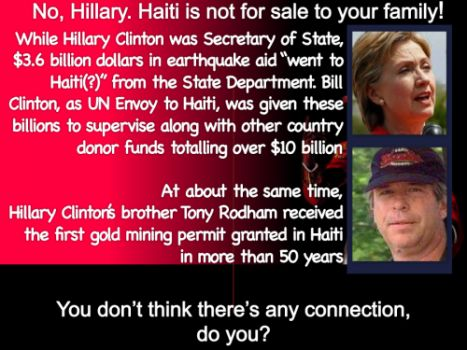 "Hillary & Tony Rodham After Haiti ""received $$$ from US relief funds-Emails on Government workings with Haiti ? switched to CLINTON FOUNDATION BUSINESS making it no longer Government business-Hence MISSING EMAILS? @FBI #HILLCLINTCHRON"