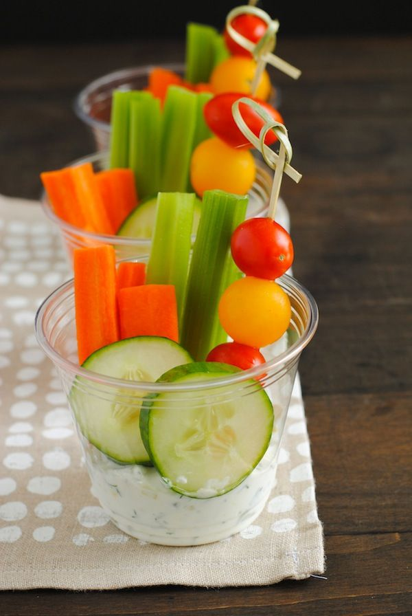 Veggies & Dip Cups | great way to present snacks, esp if out on a deck or outdoor area.