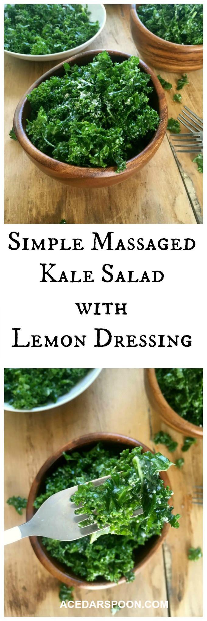 Simple Massage Kale Salad with Lemon Dressing--altered dressing a bit based on another recipe--2T lemon juice, 2T red wine vinegar, 1 garlic clove, pinch mustard powder, 4T oil. So yummy!