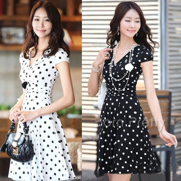 $18.90 Polka Dots Skirt Pleasantly Cool Dress Sexy Deep V Dress - BornPrettyStore.com