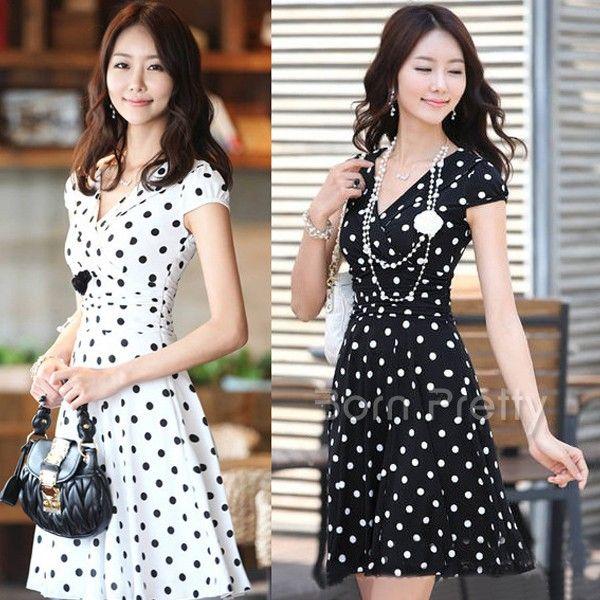 $18.90 Polka Dots Skirt Pleasantly Cool Dress Sexy Deep V Dress - BornPrettyStore.com