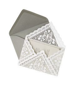 DIY Lace Paper Envelope: To make, lay a 9-inch square doily face down, with a corner pointing toward you. Center invitation on top. Fold up bottom point, then side points, and finally the top. Insert into envelope. 9-inch square butterfly doily (p78810), $5.50 for 20, Artifacts, Inc., office@maryjeanonline.com. Paper, P.S. Collection cover weight, $3.75 for ten sheets, and A7 envelope, $4.25 for ten, Paper Source.