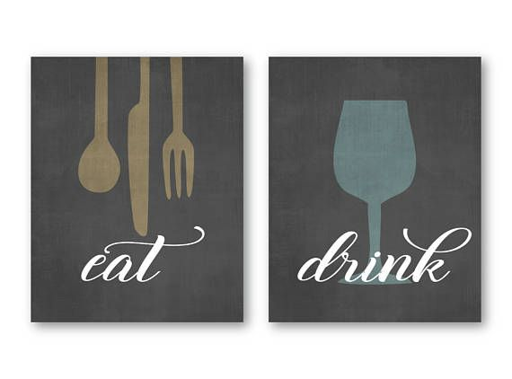 Modern Kitchen Art Prints Eat Drink & Be Merry Set of 4 5