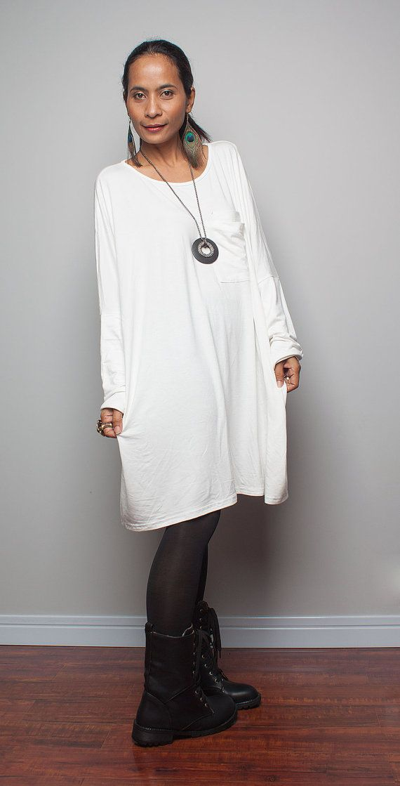 White Tunic Dress / Short Dress / Blouse - Short Comfortable Long Sleeve Dress : Urban Chic Collection No.7 on Etsy, $55.33 CAD