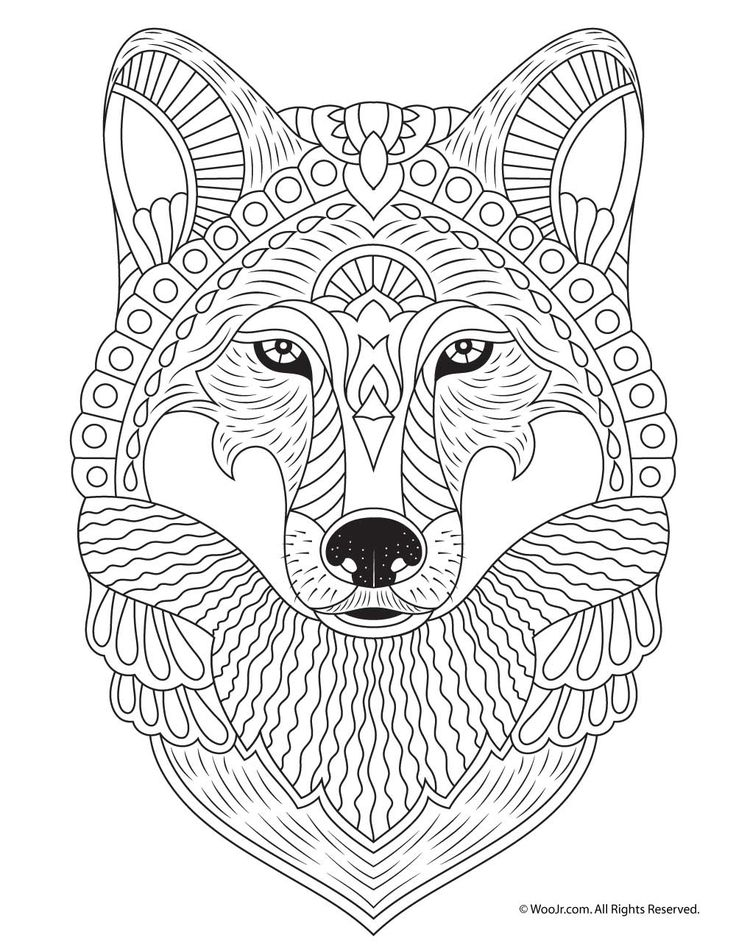 Wolf Adult Coloring Page