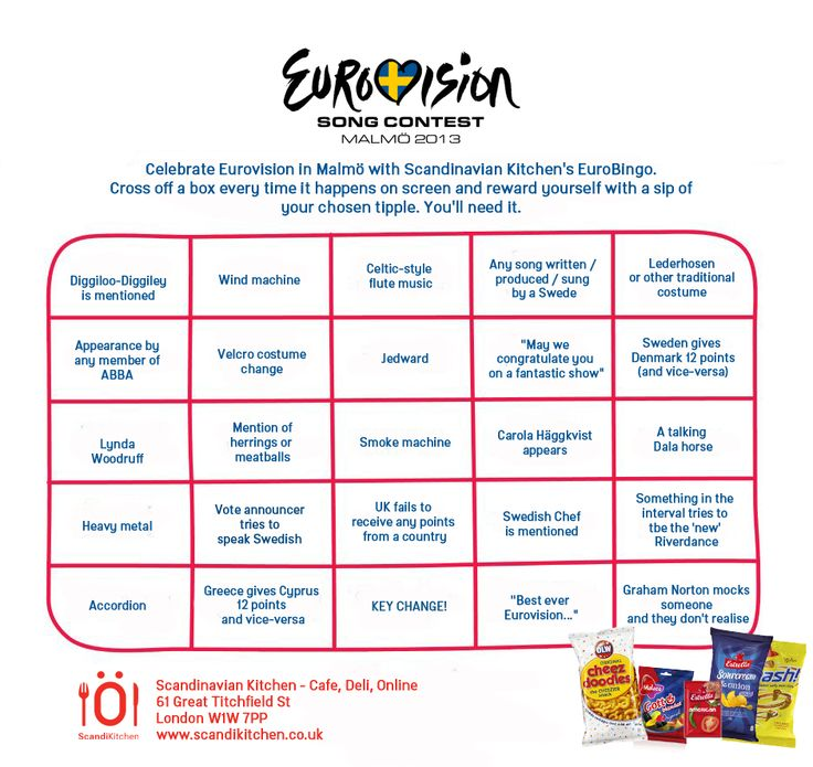 Eurovision bingo (for Malmö 2013, but could easily be adapted to any year)