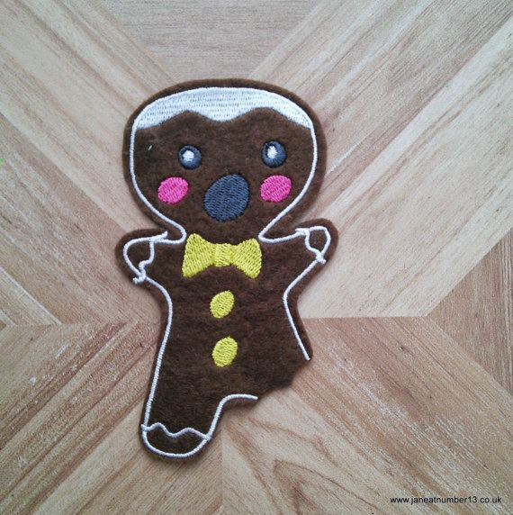 One-legged gingerbread  man iron-on patch great by JaneAtNumber13