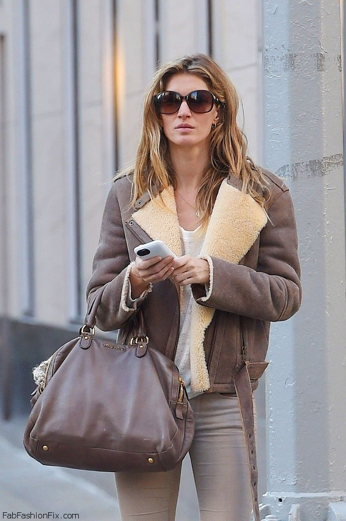 Gisele Bundchen street style with aviator jacket and Miu ...