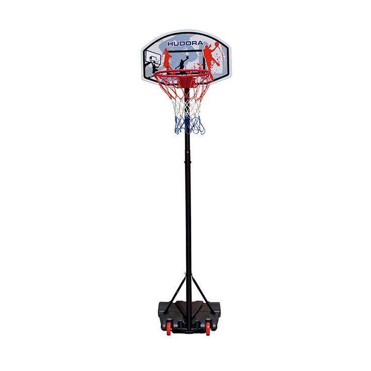 De HUDORA 'All Stars' verrijdbare basketbal standaard met 2 wieltjes. De standaard is in hoogte verstelbaar van 165 tot 205 cm. Het basketbalbord is 70 x 45 cm en heeft een gepoedercoat metalen ring met een diameter van 42,5 cm. Het net bestaat uit 3 kleuren en is gemaakt ... deze of een andere of enkel een net voor op de oprit 80euro