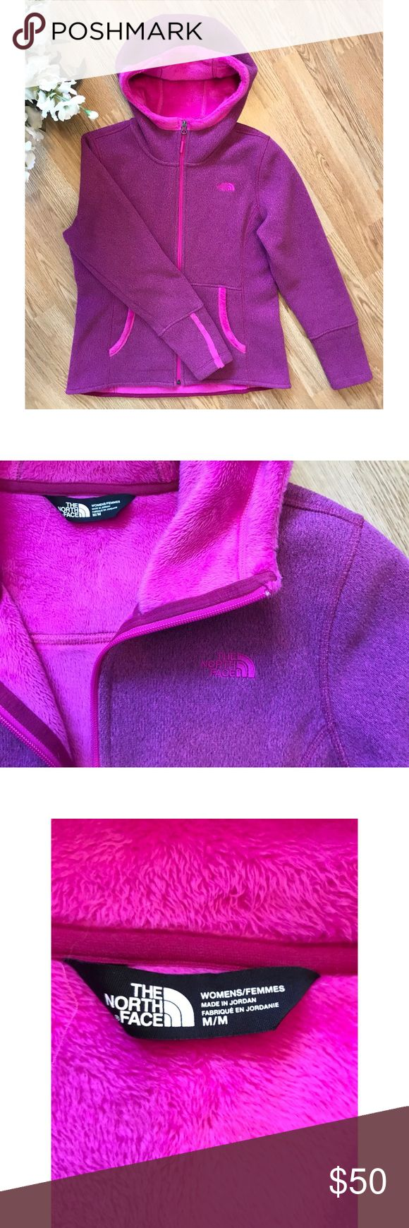 The North Face zip up hoodie. LIKE NEW! The North Face, pink/purple, zip up, fleece. In great condition! Worn maybe a handful of times. Size medium. The North Face Tops Sweatshirts & Hoodies