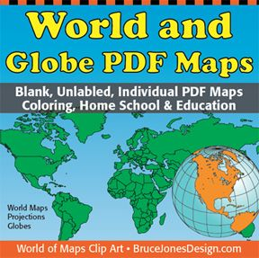 World and Globe Individual PDF maps This map collection includes individual PDF World Projections and Globe Maps to color for education, home, and school. • Download the geographic maps of the world with our World Maps and Globes Collection of unlabeled, blank PDF maps. • Each map comes as an individual PDF file that can be printed out. • Students can trace the outlines of the blank maps, study and highlight continents and countries, add names and features. $4.95