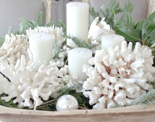 Coastal Christmas candle idea with white coral.... http://www.completely-coastal.com/2016/12/coastal-christmas-candle-ideas.html