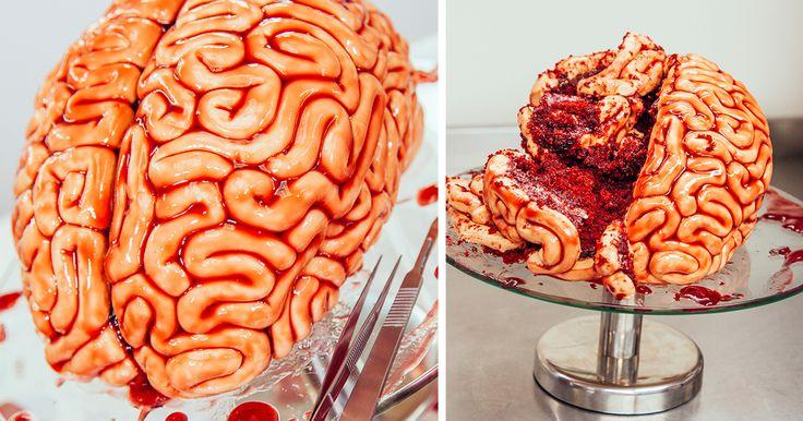 How To Make A Red Velvet Brain Cake For Halloween | Bored Panda