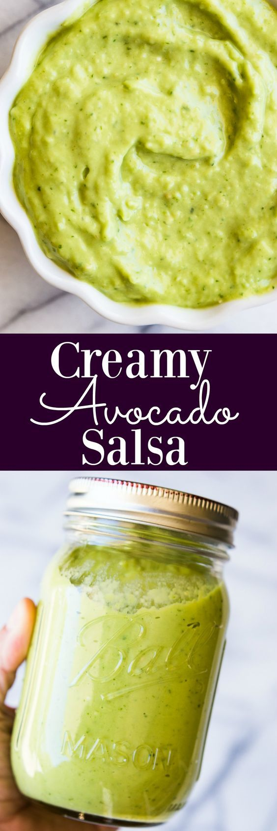 This creamy avocado salsa only takes 5 minutes to make!! The perfect green sauce for tacos, nachos, burritos, salads, or just for dipping chips into!