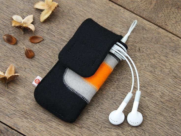 """iPod nano Tasche """"Schwarz-Hellgrau-Orange"""" von blandine taschen  auf DaWanda.com"""