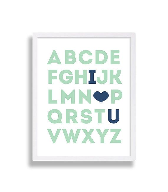 Alphabet Nursery Art I Love You Nursery Decor Mint Green Nursery Art Dark Blue Nursery Art ABC Nursery Art Boy Nursery Art Heart Nursery Art