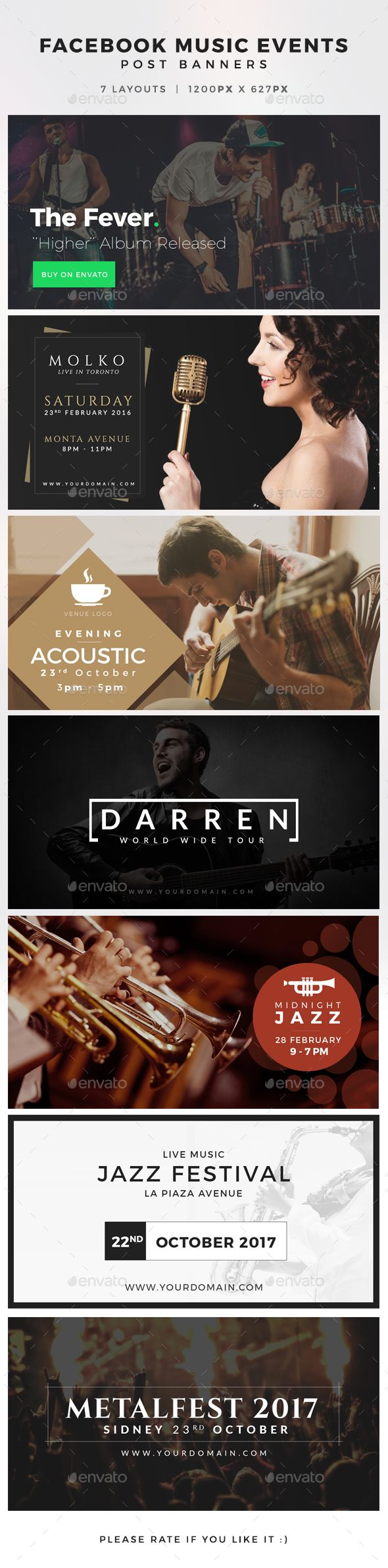 Facebook Music Events Post Banners Template PSD #design Download: http://graphicriver.net/item/facebook-music-events-post-banners/14038782?ref=ksioks