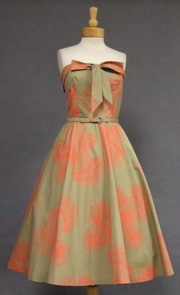 SUPERB Khaki & Coral 1950's Strapless Sun Dress w/ Bolero - Vintageous, LLC