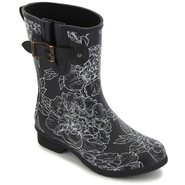 Chooka Women's Cora Printed Matte Rubber Mid-Calf Rain Boots ($85) ❤ liked on Polyvore featuring shoes, boots, black, slip on boots, black wellington boots, waterproof rain boots, black boots and rubber rain boots