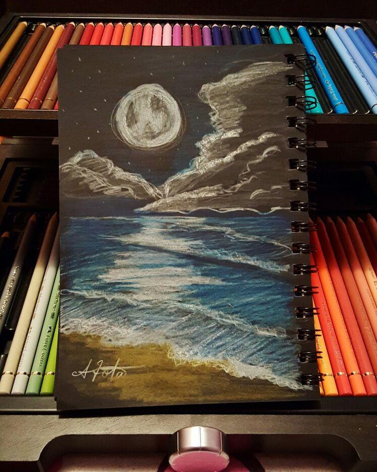 #moon #sea #blackpaper #drawing #skecth