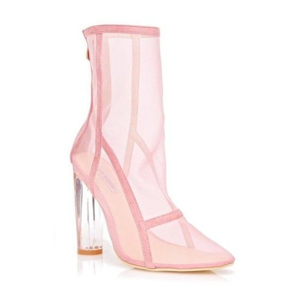 Mesh Clear Heel Zipper Boots Pink ($56) ❤ liked on Polyvore featuring shoes, boots, zip shoes, mesh shoes, mesh boots, transparent heel shoes and zip boots