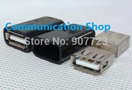 10 대 usb 2.0 형 여성 diy 포트 커넥터 소켓 케이블 와이어 교체 w/쉘 블랙