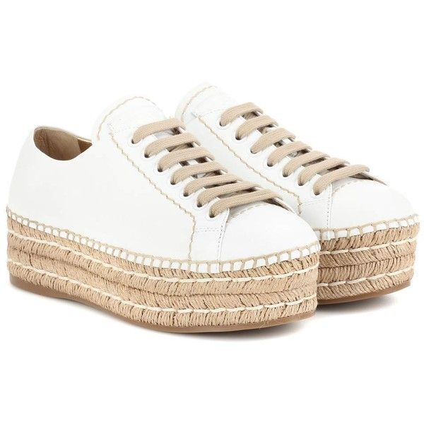 Prada Leather Espadrille Platform Sneakers ($486) ❤ liked on Polyvore featuring shoes, sneakers, white, white leather espadrilles, espadrille sneakers, platform espadrilles, white espadrilles and leather shoes