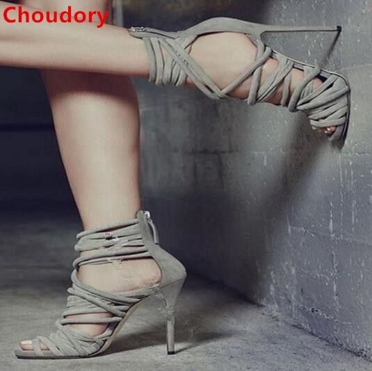 79.04$  Buy here - http://ali7sw.shopchina.info/1/go.php?t=32814539026 - Grey strappy sandals cross-tied peep toe cut-outs high heels women gladiator sandals summer sexy stiletto heels sandal boots 79.04$ #aliexpressideas