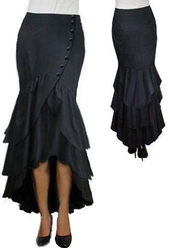 Side Buttoned Steam Punk Skirt