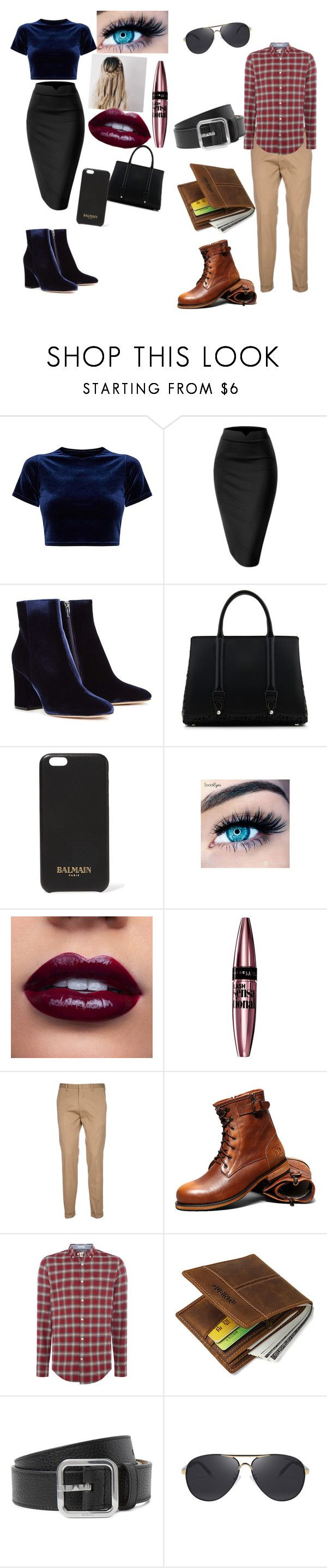 """""""The Night Out"""" by melissa-kalay ❤ liked on Polyvore featuring Gianvito Rossi, La Perla, Balmain, MINX, Maybelline, Paul Smith and Original Penguin"""