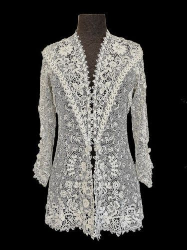 Edwardian Jacket Irish Crochet Tunic Antique Lace Bridal XS S | eBay