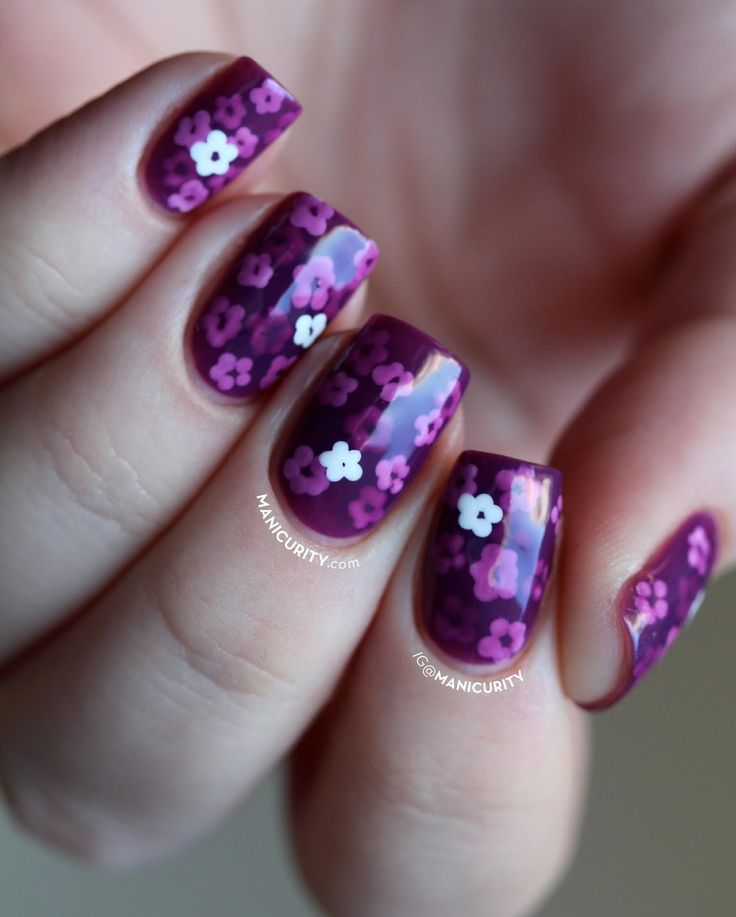 Purple Pond Manicure - a jelly sandwich with tiny flowers layered in delicious purple jelly polish!   Manicurity.com