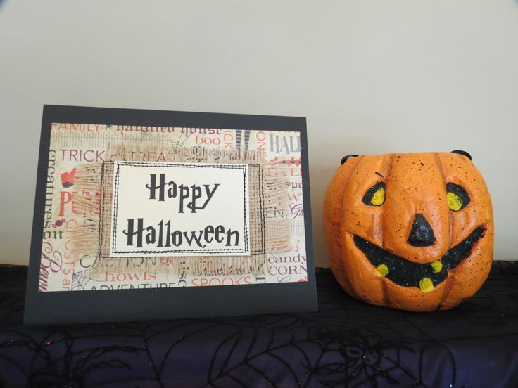 Quilted Burlap Halloween Card, Handmade Burlap Card, Mixed Media Card - pinned by pin4etsy.com