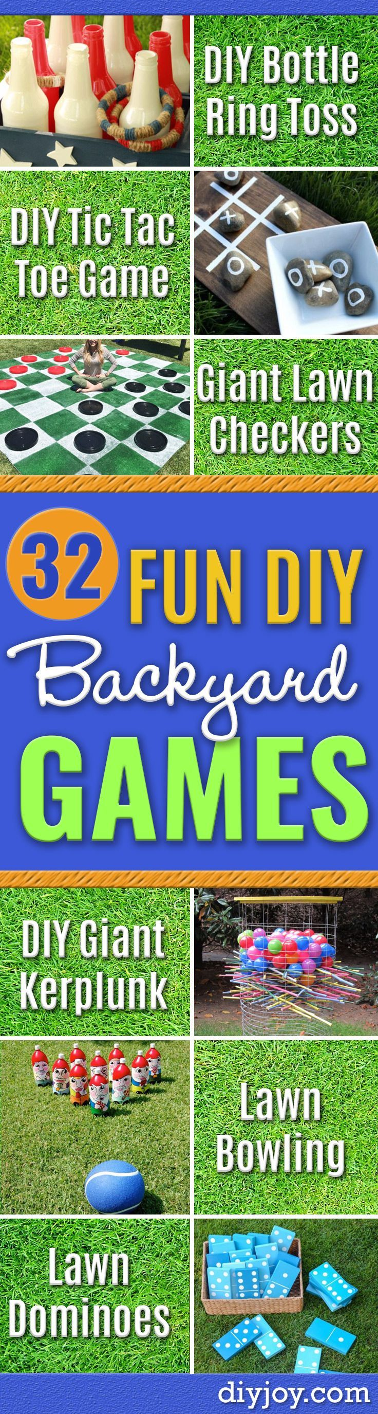 Best DIY Backyard Games - Cool DIY Yard Game Ideas for Adults, Teens and Kids - Easy Tutorials for Cornhole, Washers, Jenga, Tic Tac Toe and Horseshoes - Cool Projects for Outdoor Parties and Summer Family Fun Outside http://diyjoy.com/diy-backyard-games