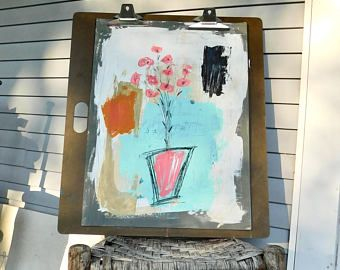Floral Painting, Home Decor, Mixed Media Art, Abstract Art, Whimsical Art, Wall Art, Acrylic, Interior Design, Christmas Gift, Farmhouse