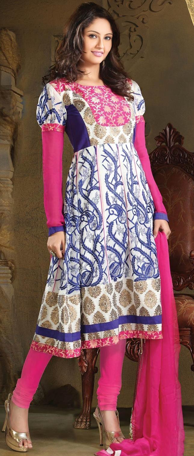 White Faux Georgette #Anarkali Churidar Kameez @ US $125.27 | Shop Here: http://www.utsavfashion.com/store/sarees-large.aspx?icode=kku8