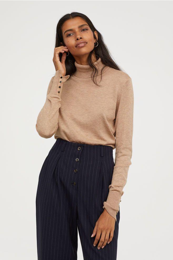 16b6c9ac809743 Fine-knit Turtleneck Sweater in 2019 | fw18 | Beige sweater ...