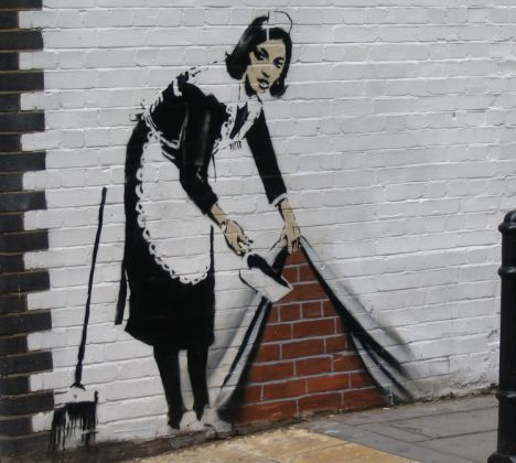 banksy graffiti art | coveted piece of modern art: Art terrorist Banksy's paintings' are ...
