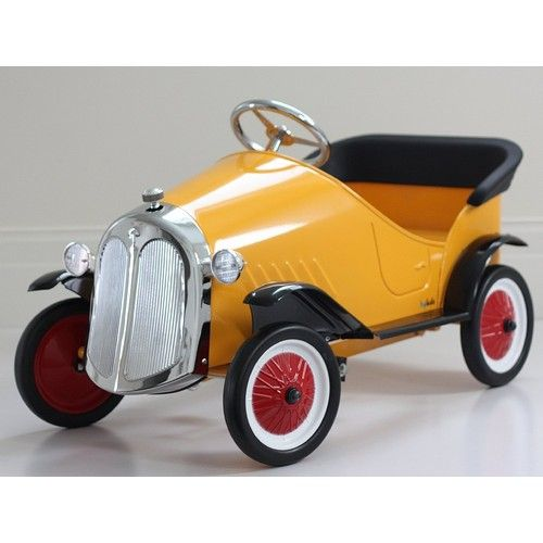 pedal car yellow ride on steel vintage