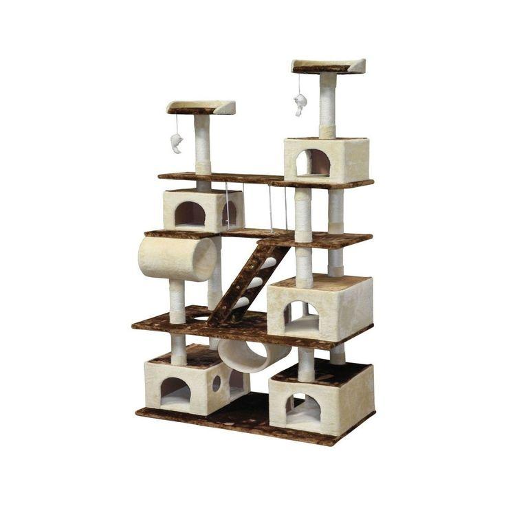 Go Pet Club Huge 87.5 in. Cat Tree Condo House Furniture Brown/Beige